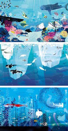 Charming Ocean Illustrations Show Hundreds of Creatures Under the Sea Ocean Illustrations by Lucie Brunellière Meer Illustration, Landscape Illustration, Street Art, Underwater Art, Ocean Art, Fish Art, Art Plastique, Under The Sea, Art Reference