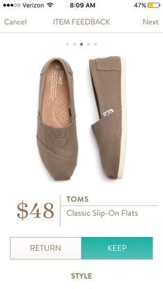 Toms Classic Slip On Flats from Stitch Fix.   https://www.stitchfix.com/referral/4292370