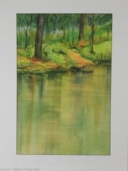 "Original Watercolor by Mary Louise Green, ""Riverbank"", Matted 27X20"