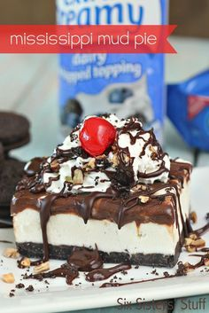 Mississippi Mud Ice Cream Pie on SixSistersStuff.com - no baking required!