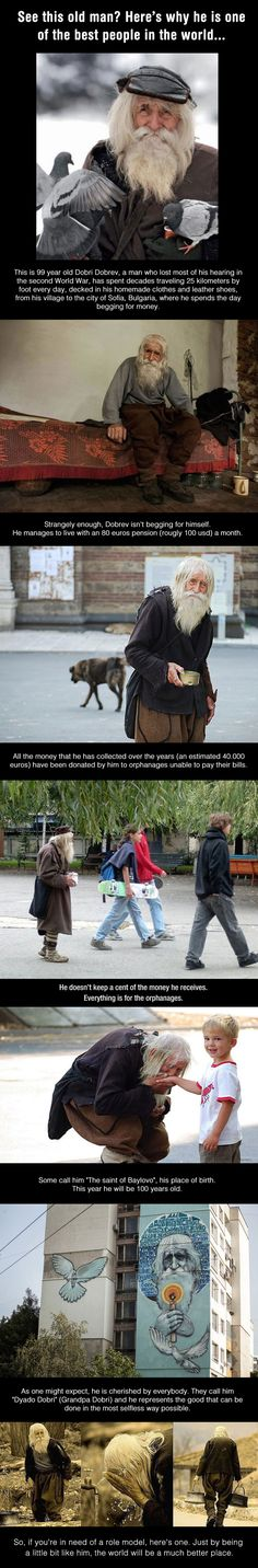 Dobri Dobrev walks 25km each day to beg for money for orphanages that are unable to pay their bills. He has turned 100 today, July 20, 2014