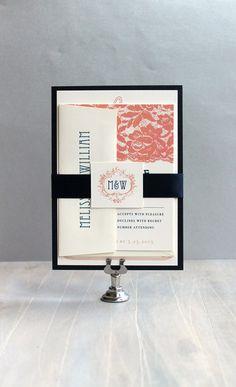 "Elegant Monogram Wedding Invitations, Wedding Invitation, Lace Wedding Invitations, Navy and Coral {NEW} - ""Deco & Lace"" Deposit on Etsy, $100.00"