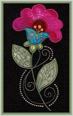Applique Jacobean Flowers Embroidery Designs Flower Embroidery Patterns Flower embroidery patterns are my favourite. Bordado Jacobean, Crewel Embroidery Kits, Flower Embroidery Designs, Machine Embroidery Designs, Embroidery Patterns, Japanese Embroidery, Wool Applique Patterns, Felt Applique, Felt Patterns