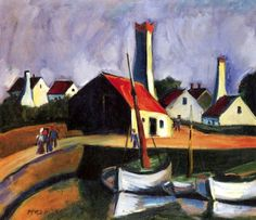 Max Pechstein - Fishing port in Bornholm, 1924.
