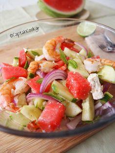 Watermelon, Feta and Shrimp Salad