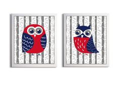 Nursery Owls Boy Kids Wall Art Girl Woodland Forest  Birds Tree Land of Nod set of 2 each 11x14. $40.00, via Etsy.