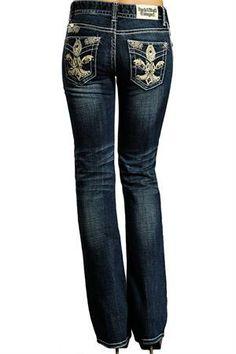 Rock & Roll Cowgirl Women's Mid Rise Boot Cut Fleur de Lis Jeans