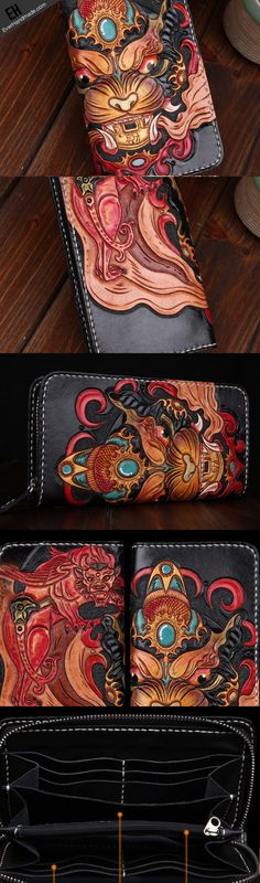 Handmade leather Chinese Monster Black wallet leather zip men clutch Carved Tooled wallet