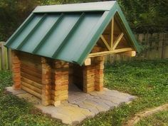 DIY Log Cabin Dog House (heehee! this is funny - lots of pic's + directions @ link)