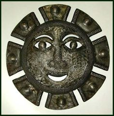 "Aztec Sun - Haitian Metal Art Wall Hanging - Steel Drum Wall Decor - 20"" - $69.95 -  Steel Drum Metal Art from  Haiti - Interior or Garden Décor   * Found at  www.HaitiMetalArt.com"