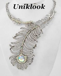 Chunky Clear & AB Crystal Acrylic Silver Peacock Costume Earrings Necklace Set