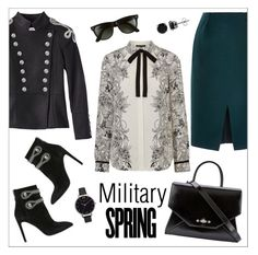 """Military Styled in Spring"" by ms-mandarinka ❤ liked on Polyvore featuring Warehouse, Nina Ricci, Pierre Balmain, Givenchy, Ray-Ban, Olivia Burton and BERRICLE"