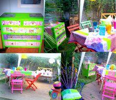 Cómoda vintage reciclada con decoupage,para disfrutar en el deck del jardín,,,