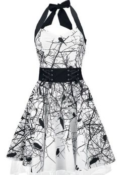 Poizen-Industries-Dark-Crow-Dress-Punk-Gothic-Raven-Print-Goth-Halterneck-NEW