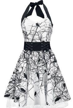 Poizen-Industries-Dark-Crow-Dress-Punk-Gothic-Raven-Print-Goth-Halterneck-NEW