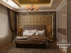 Caramel dreams from Antonovich Design. This interior is especially warm and cozy. Pay attention to the texture of decorative walls, how harmoniuosly the ceiling designed illumination emphasizes the atmosphere of the bedroom, and color palette gives a taste of caramel