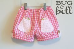 Girls Summertime Shorts - pink gingham - Size 4 (using the Brownie-Goose Darby Shorts pattern)