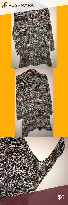 Tunic Cardigan! Tribal pattern. Lightweight, casual & cute kimono Cardigan! Sleeves are quarter length that taper from wide to fitted on forearm... Tops Tunics