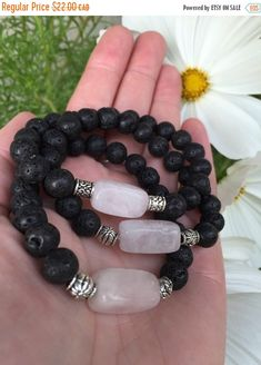 HOLIDAY SALE LOVED Rose Quartz and Lava Stone Aromatherapy Essential Oil Diffusing Mala Bracelet