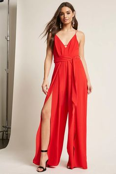 Product Name:Slit-Leg Palazzo Jumpsuit, Category:dress, Jumpsuits For Women Formal, Palazzo Jumpsuit, Red Jumpsuit, Forever 21 Fashion, Red Romper, New Years Eve Outfits, Going Out Dresses, Rompers Women, Women's Rompers