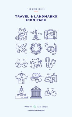 Travel & Landmarks Icons Set made by iStar Design. Series of 100 pixel-perfect icons, created by influence of vacation, travelling and famous landmarks. Live stroke & outlined stroke icons available to suit your design from 1 pt upwards. Carefully handcrafted icons usable for digital design or any possible creative field. Suitable for print, web, symbols, apps, infographics.
