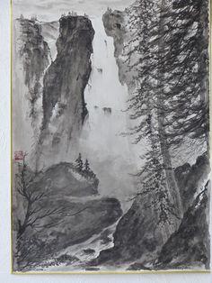 Vente de Noël La cascade s'entoure de lumière Zen, Les Cascades, Painting, Paint, Painting Art, Paintings, Painted Canvas, Drawings