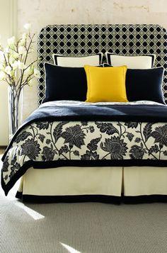 calico corners custom bedding--love the black & white Bedroom Colors, Bedroom Decor, Master Bedroom, Bedroom Ideas, Calico Corners Fabric, Black White Bedrooms, Black Bedding, Cream Bedding, Yellow Bedding