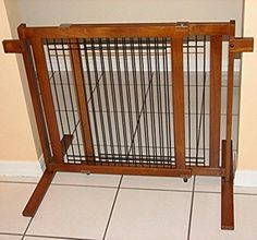 Amazon.com : Crown Pet Products 29.4-Inch Tall Freestanding Wood & Wire Pet Gate with Security Arms Fits 40 to 74.5-Inch, Wide Span, Chestnut Brown : Indoor Safety Gates : Pet Supplies