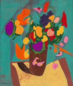 Still Life--Flowers, ca. 1944-1945, William H. Johnson, oil on paperboard, 20 5/8 x 18 in. (52.3 x 45.6 cm), Smithsonian American Art Museum, Gift of the Harmon Foundation, 1967.59.585
