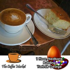 Join us every day from 15h00 until 17h00 at The Coffee Market for a cup of Coffee and a piece of cake for only R20.00. If you are in town, this is a must for any comfort food lover. #comfortfood #coffeeshop #afternoondelights