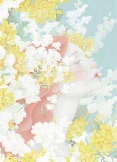 淡いピンクが美しい。柔和な女性を描いた台湾のアーティストの絵画作品 | ARTIST DATABASE/アーティストデータベース