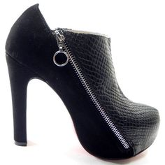 Christian Louboutin 4A Ankle Python/Suede Ankle Boots 120mm Blac