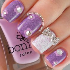 Rhinestone flowers and bow manicure ===== Check out my Etsy store for some nail art supplies https://www.etsy.com/shop/LaPalomaBoutique