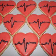 Dr. Doctor Nurse Hospital Beating HEART Love Decorated Sugar cookie pop - favors 1 Dozen (12)