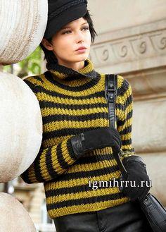 Теплый полосатый пуловер-реглан, связанный полупатентным узором. Вязание спицами Knitting Projects, Knitting Patterns, Knit Crochet, Crochet Hats, Men Sweater, Turtle Neck, Collection, Tops, Knits