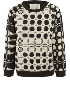 Ace and Jig Black and White Coverlet Quilted Sweatshirt for Liberty