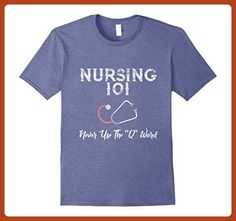 "Mens Funny Nurse TShirt: Nursing 101: Never Use The ""Q"" Word 2XL Heather Blue - Careers professions shirts (*Partner-Link)"