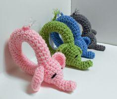 Crochet elephant baby rattles!