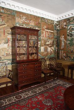 Collage of Chinese pictures used as wallpaper in the Study at Saltram, Devon, possibly hung c. 1768.