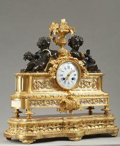 fine louis xv style gilt bronze and white marble 39 pendule. Black Bedroom Furniture Sets. Home Design Ideas