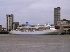 Thomson Spirit cruise vessel in Liverpool, 7 May Liverpool Home, Seattle Skyline, San Francisco Skyline, Photo Credit, Cruise, Spirit, Travel, Viajes, Cruises