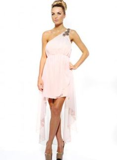 Nude One Shoulder High-Low Dress with Embellished Shoulder,  Dress, one shoulder  high-low, Chic