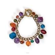 Multi-Tasker Bracelet $19.  Antique gold dressed with multi-colored gem-like beads will help take any neutral outfit from drab to fab!