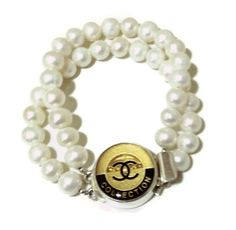 Teramasu Vintage Chanel Couture Gold Black Collection Button Bracelet with Double Standed Pearls