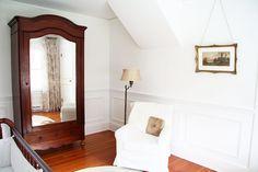 a country farmhouse blog: neutral nursery with antique armoire