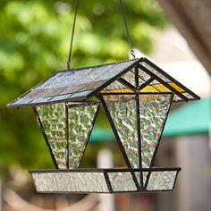 Stained glass bird feeder.