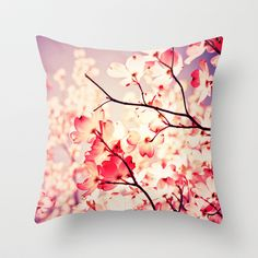 Dialogue With the Sky Throw Pillow, college dorm decor, pink, nature, photography, flowers, cottage, pretty, farmhouse, decor