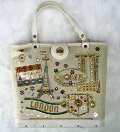 Vintage Canvas Jeweled Purse World Traveler Paris Rome London 60s Kit Handbag #Unbranded #Purse
