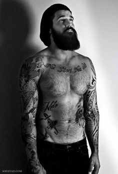 thicker beard are easy to grow, only after i read this! Great Beards, I Love Beards, Hot Beards, Beard Love, Awesome Beards, Tattoos For Guys, Hot Bearded Men, Bearded Tattooed Men, Hairy Men