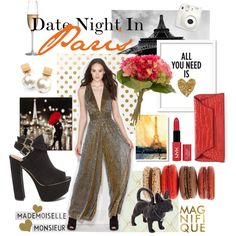 A fashion look from November 2015 by gojane featuring NYX, a jumpsuit, black heels, and the perfect clutch.